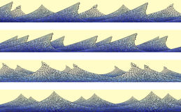 Horizontal banner: mosaic of wave with foam. Royalty Free Stock Photos