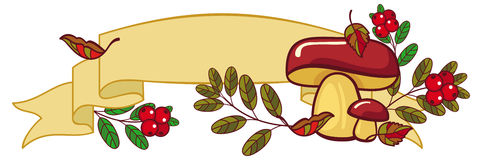 Horizontal banner with mushrooms, cranberries. Falling leaves and free space for text. Raster clip art Stock Images