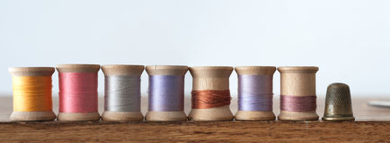 Horizontal Banner Of Thread And Thimble Royalty Free Stock Images