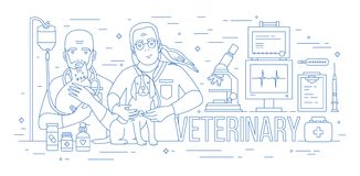 Horizontal banner with pair of veterinarians holding dog, cat and parrot. Two smiling vets with pet animals in. Veterinary clinic drawn with blue contour lines Royalty Free Stock Photography