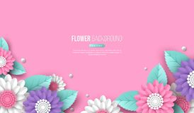 Horizontal banner with paper cut 3d flowers in pink, white and violet colors. Place for text. Decorative elements for. Holiday design. Vector illustration Royalty Free Stock Photo