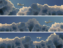 Horizontal banner of plane among clouds. Royalty Free Stock Image