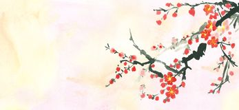 Horizontal banner of plum brunch in bloom. Banner decorated with plum brunch in bloom and tender watercolor background Stock Photos
