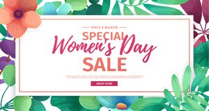 Horizontal banner for sale International  Happy Women`s Day on flower background. Flyer for March 8 with the decor o Stock Photo