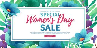 Horizontal banner for sale International  Happy Women`s Day on flower background. Flyer for March 8 with the decor o Royalty Free Stock Photos