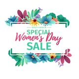 Horizontal banner for sale International  Happy Women`s Day on flower background. Flyer for March 8 with the decor o Royalty Free Stock Image