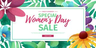Horizontal banner for sale International  Happy Women`s Day on flower background. Flyer for March 8 with the decor o Royalty Free Stock Images