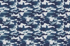 Free Horizontal Banner Seamless Camouflage Pattern Background. Classic Clothing Style Masking Camo Repeat Print. Blue, Navy Stock Photos - 99714963