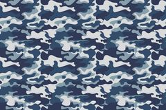 Horizontal banner seamless camouflage pattern background. Classic clothing style masking camo repeat print. Blue, navy. Cerulean grey colors forest texture Stock Image