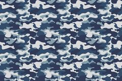 Horizontal banner seamless camouflage pattern background. Classic clothing style masking camo repeat print. Blue, navy Stock Image