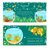 Horizontal banner set with aquarium and fishes underwater isolated vector illustration. Royalty Free Stock Photos