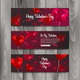 Horizontal Banner set with balloons shape of heart, banner for Happy Valentine s Day celebration. Vector eps 10 Royalty Free Stock Photo