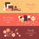 Horizontal banner set with chocolate sweets, ice Royalty Free Stock Photos