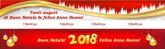 Two banners with Italian text for the New Year 2018. Horizontal banner set for Christmas and New Year 2018 for the Italian speaking clients / customers. Text Royalty Free Stock Photography