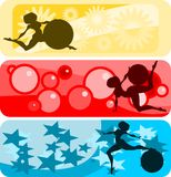 Horizontal banner set: girl and ball. Illustration:set of horizontal banners with girls and gymnastic balls silhouettes against abstract backgrounds Stock Image