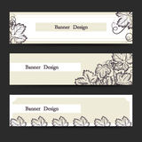 Horizontal banner set with grape leaves Royalty Free Stock Photos