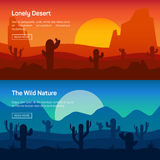 Horizontal banner set with lonely desert and wild Stock Photography