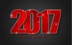 Horizontal banner template background Happy New Year 2017. Template black background with red abstract polygonal figures 2017. Happy New Year. Vector Stock Image