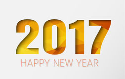 Horizontal banner template background Happy New Year 2017. Template white web banner background golden abstract polygonal figures 2017. Happy New Year. Vector Stock Image