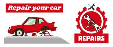 Horizontal banner template on car repairs. Repair logo, hand holding a wrench. Disassembled car red. Auto mechanic stock illustration