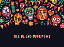 Horizontal banner template with Dia De Los Muertos inscription decorated with flag garlands, colorful Mexican calaveras royalty free illustration