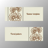 Horizontal banner template with flowers. Horizontal banner template ornate flower. Vector illustration vector illustration