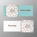 Horizontal banner template ornate flower. Vector illustration royalty free illustration