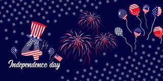 Horizontal banner of 4th of July celebration. Vector horizontal banner ofIndependence of USA celebration with balloons fireworks and stars royalty free illustration