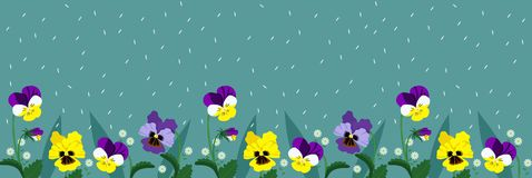 Horizontal banner of turquoise color with forget-me-not flowers and pansies. Vector banner vector illustration