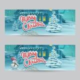 Horizontal banner - vector cartoon illustration Merry Christmas Royalty Free Stock Images