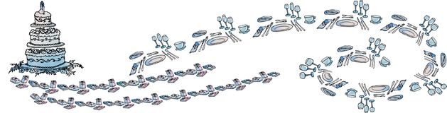 Horizontal banner festive table wedding cake. Horizontal banner with a wave of cutlery for a festive table, plates, forks, knives, spoons glasses and cups Stock Image