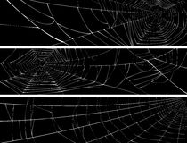 Horizontal banner of web of spider. Vector silhouette of web of spider, isolated on black, for horizontal banner Stock Photos