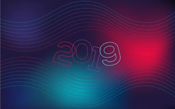 Wavy, geometric background, modern gradient, curved shape, in blue and red hues. New Year`s cover for a site. stock illustration