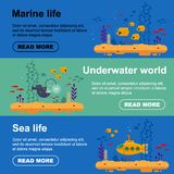 Horizontal banner yellow submarine with periscope, school of fish, angler fish. Marine life flyer with coral, seaweed -. Flat vector illustration royalty free illustration