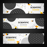 Horizontal Banners with Abstract Carbon Particles. Set of Horizontal Banners with Abstract Carbon Particles. Vector illustration of Atoms. Molecular Geometric 3D Royalty Free Stock Image