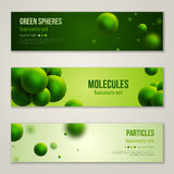Horizontal Banners with Abstract Green Particles. Horizontal Banners Set with Abstract Green Particles. Vector illustration. Molecules Background. Atoms. Eco Royalty Free Stock Photo