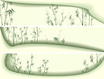 Horizontal banners abstract green shapes waveforms with bamboo t Stock Images