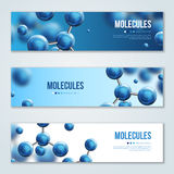 Horizontal banners with abstract molecules design. Vector illustration. Atoms. Medical background for banner or flyer. Molecular structure with blue spherical vector illustration