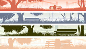 Horizontal banners with beach overlooking the bay bridge. Royalty Free Stock Photos