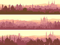 Horizontal banners of big arab city at sunset. Stock Image