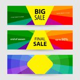 Horizontal Banners big sale and final sale. Abstract  back. Grounds for banner. Color background for your projects Stock Image