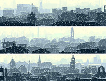 Horizontal banners of big snowy city. Stock Photo
