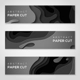 Horizontal banners with black paper cut shapes. Stock Images