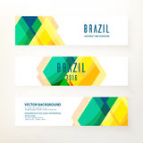 Horizontal banners in Brazil color concept. Set of modern horizontal vector banners. Triangle decor, geometric pattern in Brazil color concept. Design elements Stock Photos