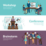 Horizontal Banners Of Business Training. Horizontal banners set of scenes presenting business workshop conference and brainstorm flat vector illustration Stock Image