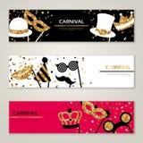 Horizontal Banners with Carnival Masks. Celebration Festive Background. Vector Illustration. Glittering Gold Pattern Stock Photography