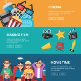 Horizontal banners at cinema theme. Male and female characters watching movies. Poster cinema movie film, entertainment media. Vector illustration Stock Photography
