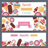 Horizontal banners with colorful candy, sweets and Royalty Free Stock Images