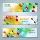Horizontal Banners with colorful spherical particles. Royalty Free Stock Photography