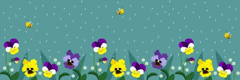 Horizontal banners with cute bees and flowers. A poster with flying bees and falling petals of turquoise color. vector stock illustration